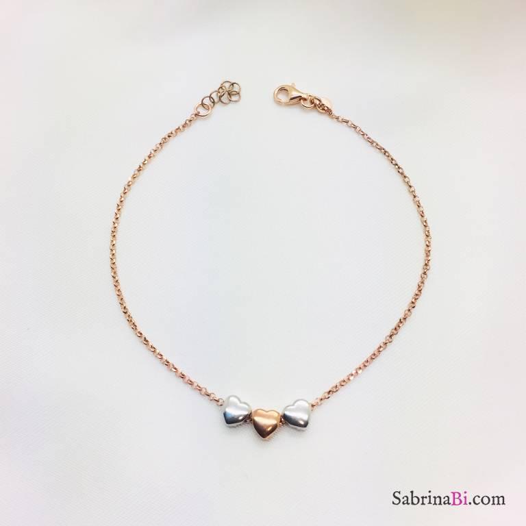 Cavigliera argento 925 oro rosa cuori passanti bicolore