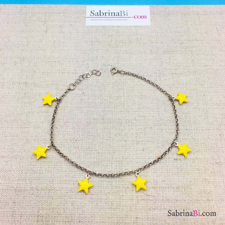 Cavigliera argento 925 stelle gialle