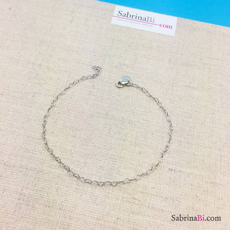 Cavigliera catena a cuore piccolo argento 925