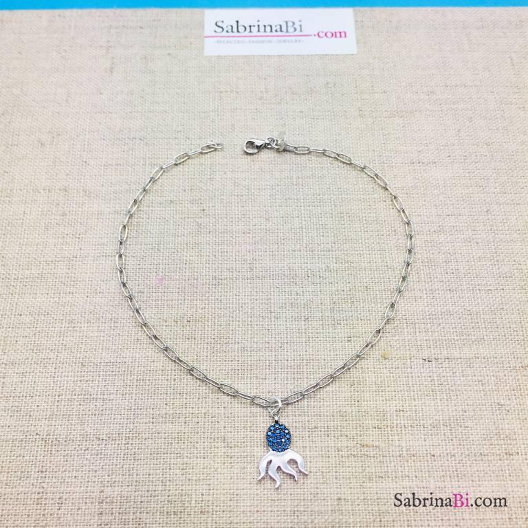 Cavigliera catena rettangolare argento 925 polipo Zirconi blu