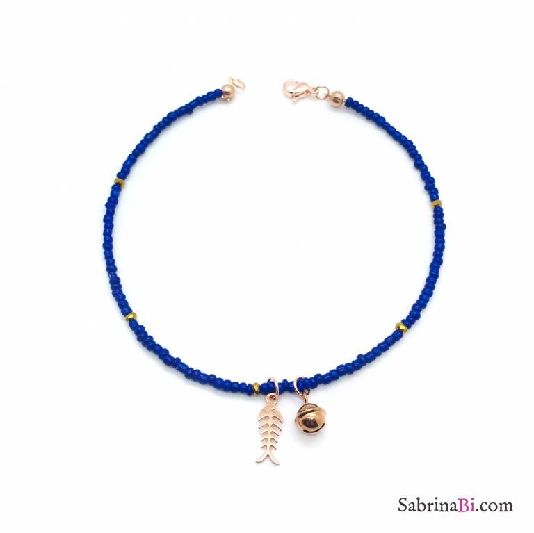 Cavigliera micro perline blu, lisca e campanellino