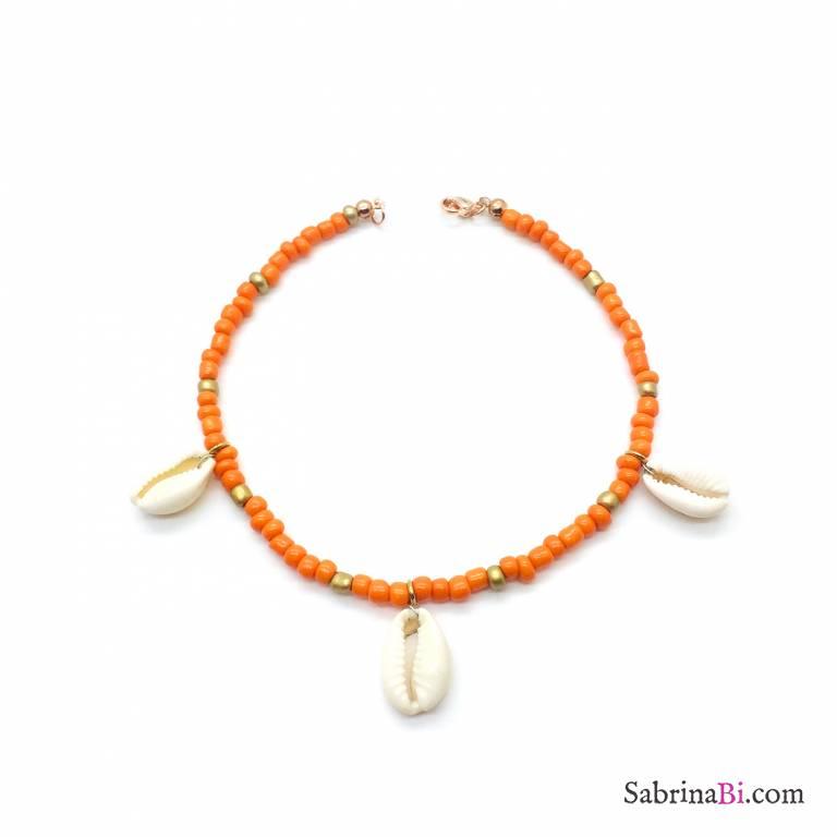Cavigliera perline arancioni e oro con 3 conchiglie