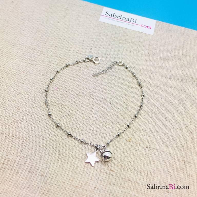 Cavigliera rosario argento 925 Campanellino e Stella