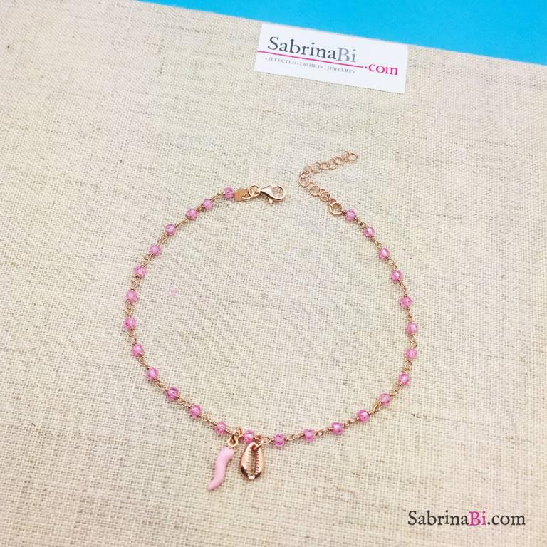 Cavigliera rosario argento 925 oro rosa cristalli rosa, cornetto e conchiglia