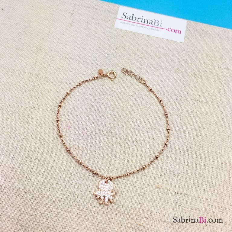 Cavigliera rosario argento 925 oro rosa polipo Zirconi