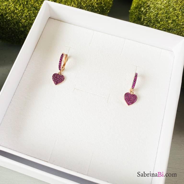 Cerchi zirconati argento 925 oro rosa Hearts