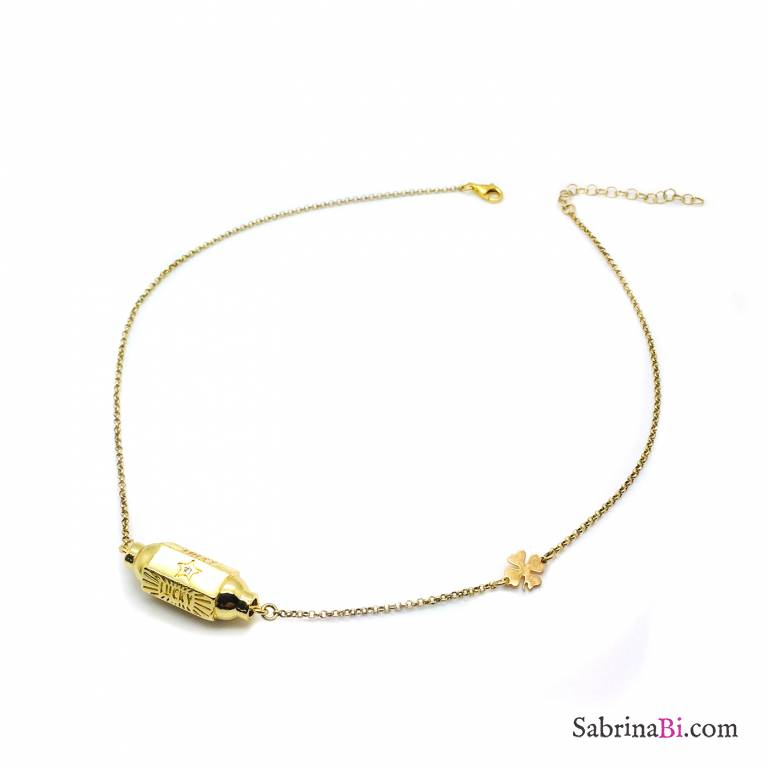 Collana argento 925 oro giallo Locket Lucky e quadrifoglio