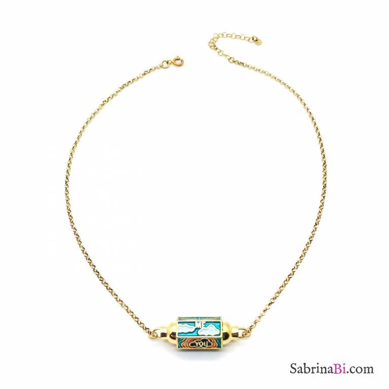 Collana argento 925 oro giallo Locket verde chiaro