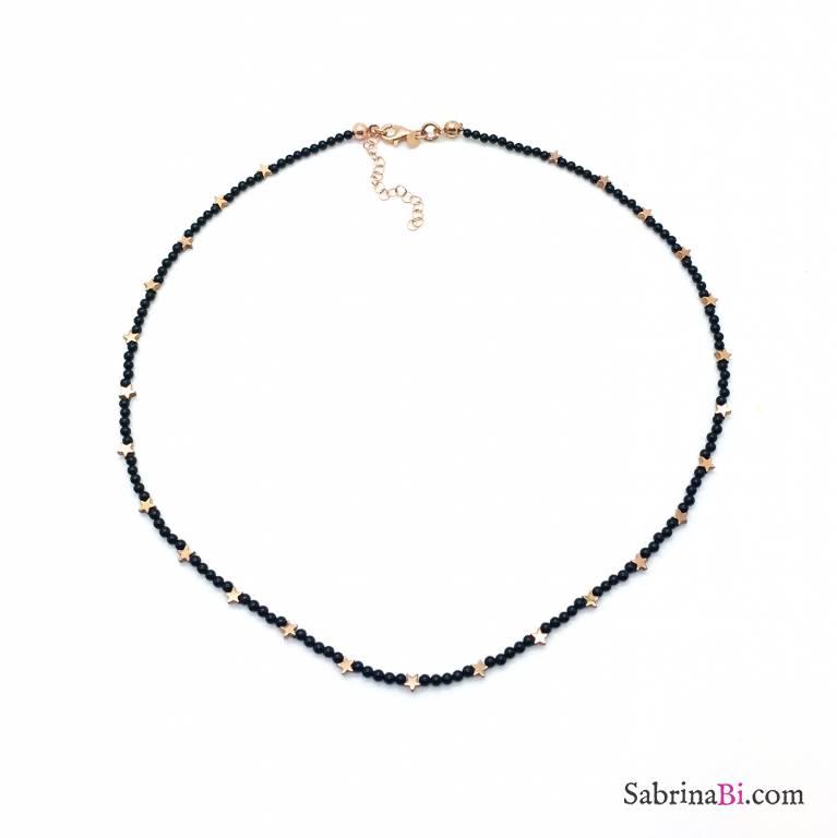 Collana argento 925 oro rosa micro Spinelli neri tondi e stelline Pirite