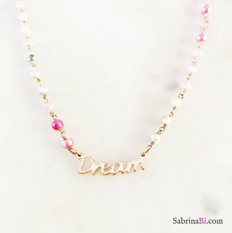 Collana argento 925 oro rosa rosario cristalli multicolor Dream