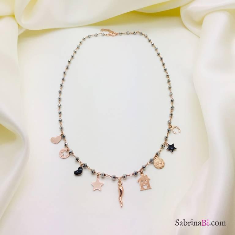 Collana argento 925 oro rosa rosario Ematite e charms