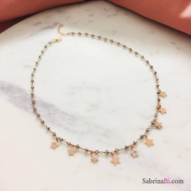 Collana argento 925 oro rosa rosario Ematite Stelle e stelline