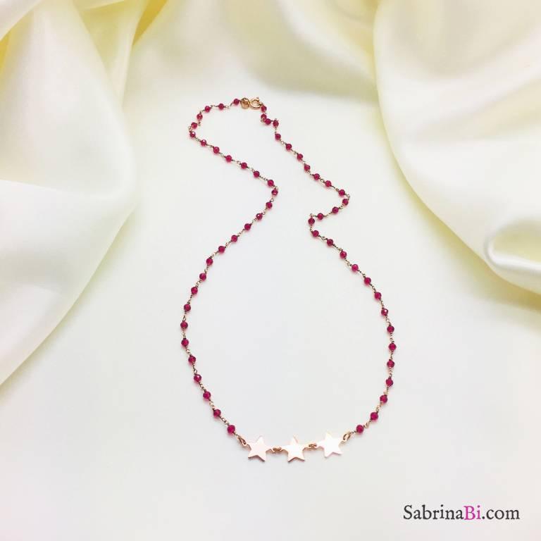 Collana argento 925 oro rosa rosario Rubino e 3 stelle