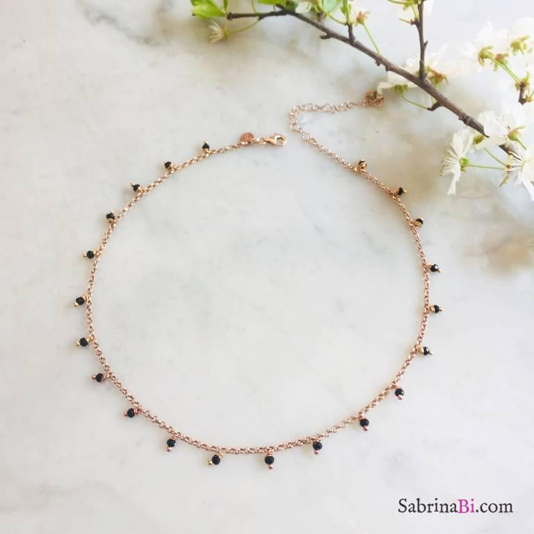 Collana argento 925 oro rosa Spinelli neri