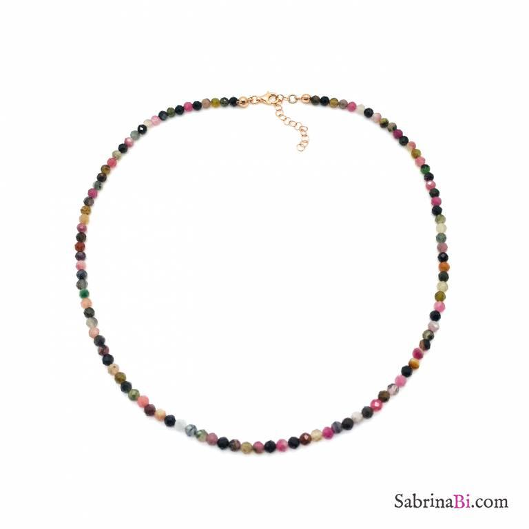 Collana argento 925 oro rosa Tormalina naturale sfaccettata grande