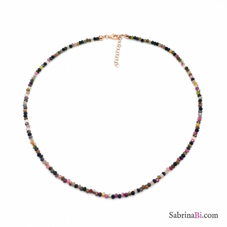 Collana argento 925 oro rosa Tormalina naturale sfaccettata piccola