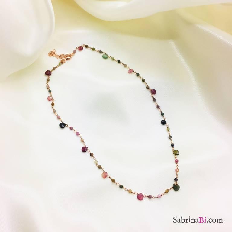 Collana argento 925 oro rosa Tormaline multicolor goccia