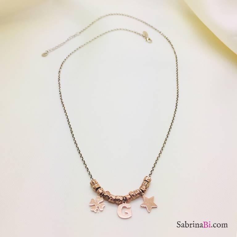 Collana argento 925 pepite oro rosa, Lettera, quadrifoglio e stella