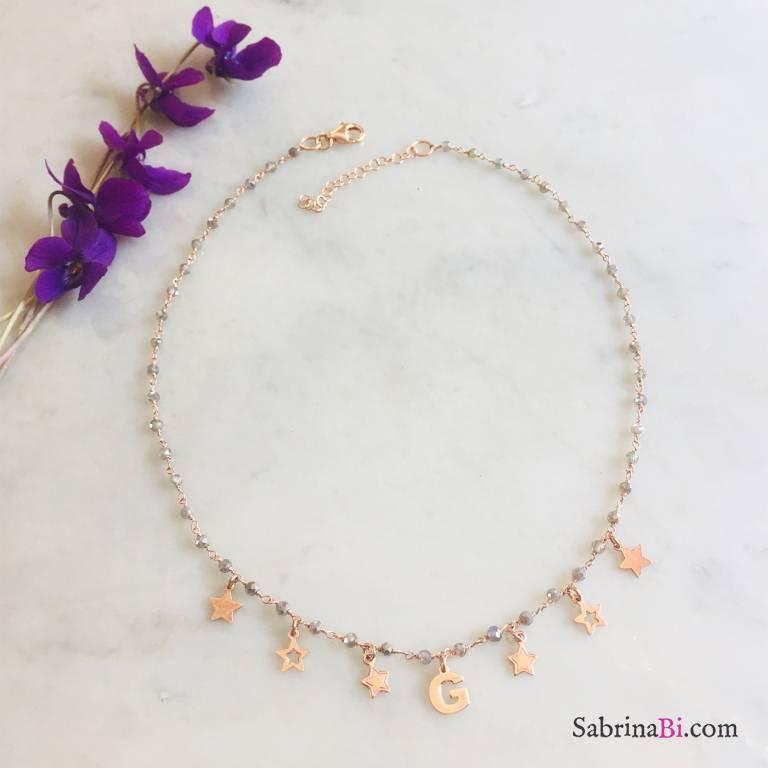 Collana argento 925 rosario Ematite oro rosa lettera e stelle