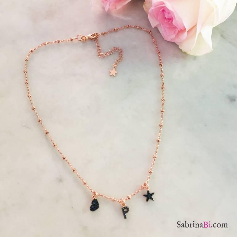 Collana argento 925 rosario oro rosa lettera e charms Zirconi neri