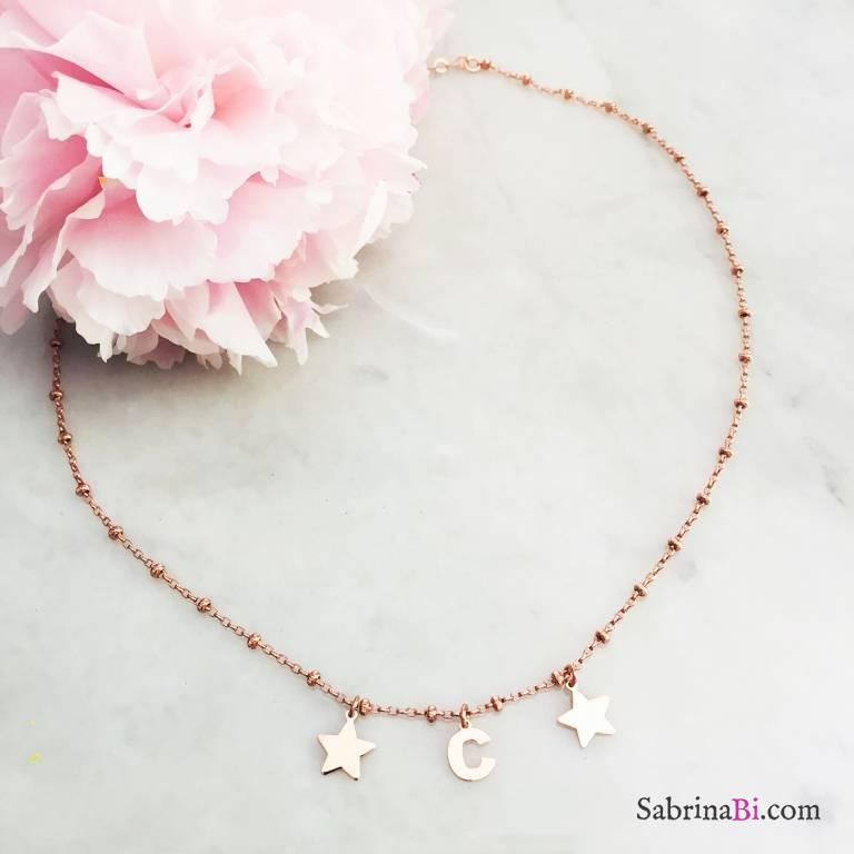 Collana argento 925 rosario oro rosa lettera iniziale nome e stelle