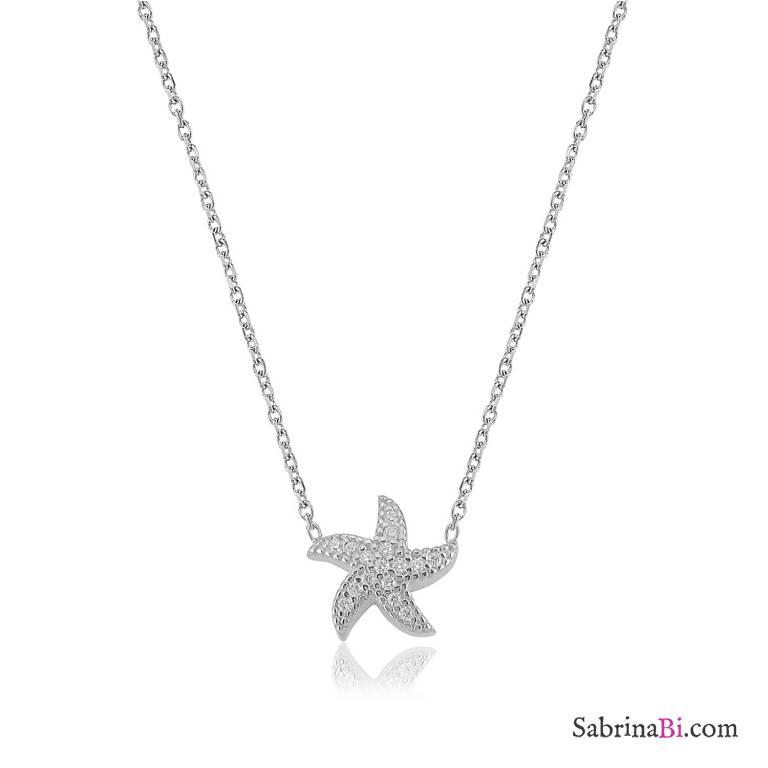 Collana corta argento 925 Stella Marina brillanti