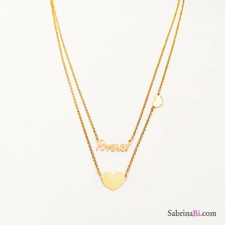 Collana doppia argento 925 oro giallo Mon Amour