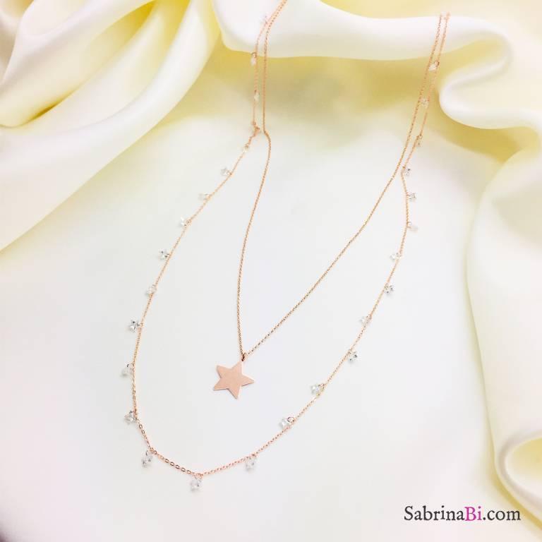 Collana doppia argento 925 oro rosa cascata stelle Zirconi e Stella