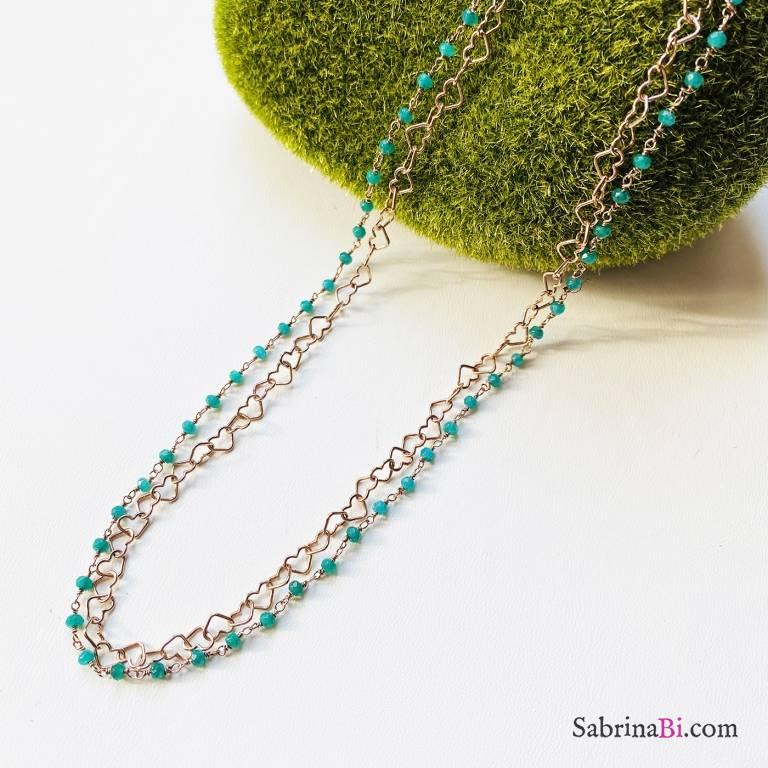 Collana doppia argento 925 oro rosa Isabel