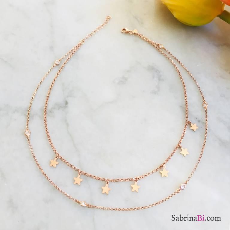 Collana doppia argento 925 oro rosa Stelline e punti luce