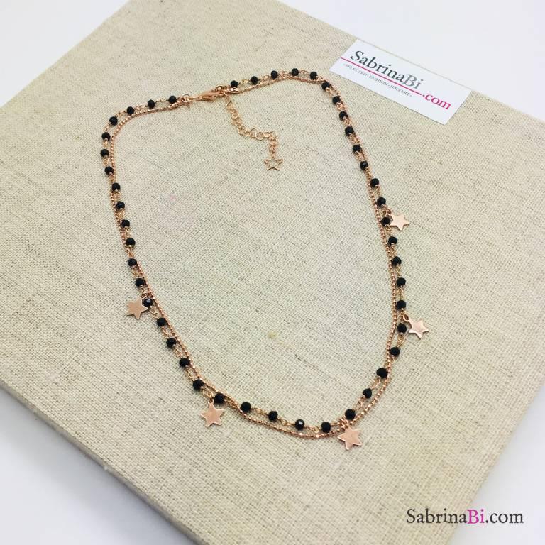 Collana doppia rosario Spinelli argento 925 oro rosa e stelline