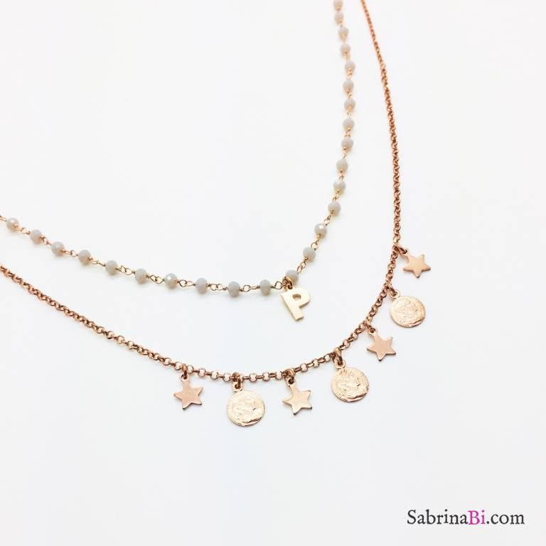 Collana due fili rosario argento 925 oro rosa lettera e monete