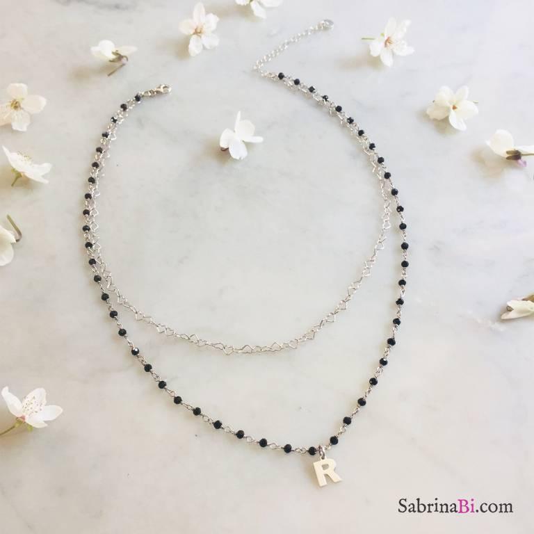 Collana due fili rosario Spinelli neri argento 925 Lettera e cuori