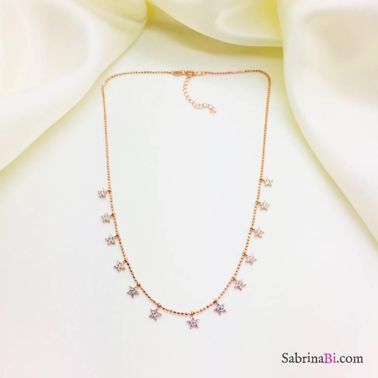 Collana girocollo argento 925 oro rosa stelline Zirconi