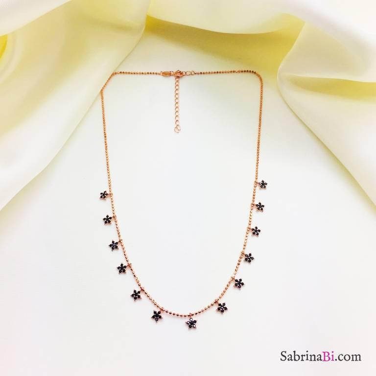 Collana girocollo argento 925 oro rosa stelline Zirconi neri