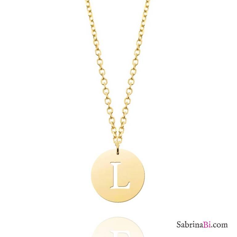 Collana girocollo oro 9K dischetto lettera iniziale nome