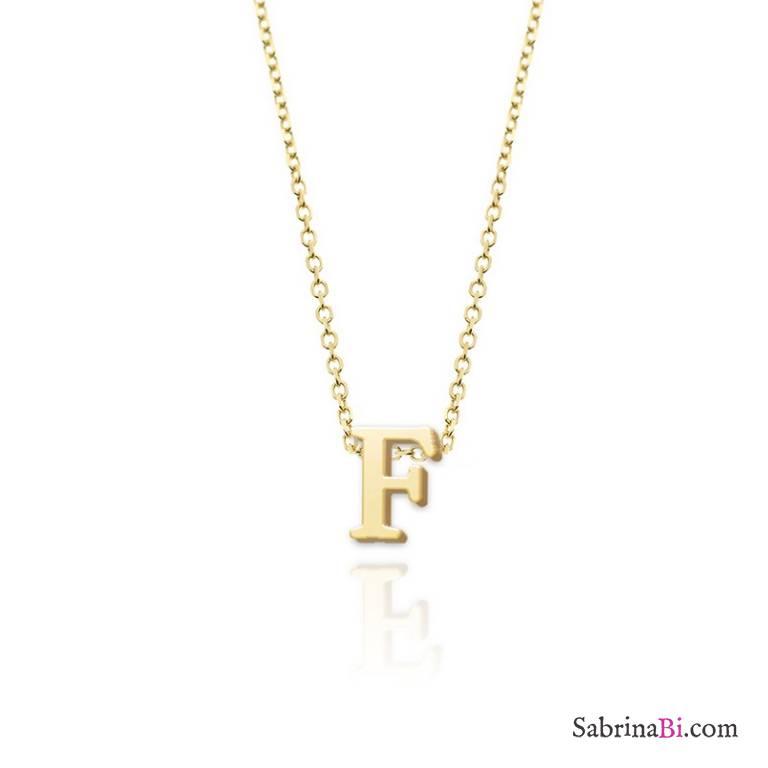 Collana girocollo oro 9K lettera iniziale nome spessa passante
