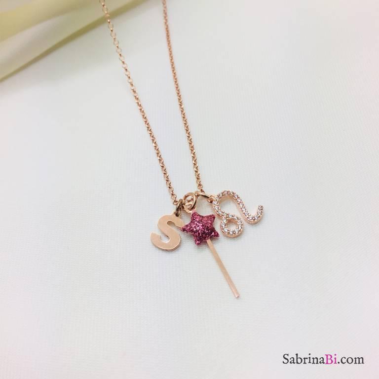 Collana I piccolini argento 925 oro rosa Iniziale, segno zodiacale e bacchetta