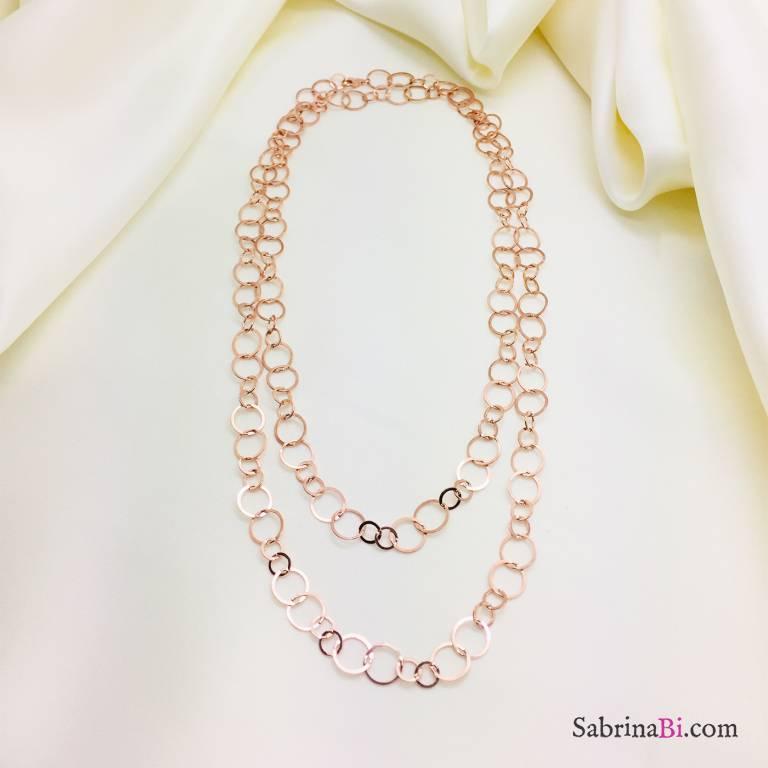 Collana lunga argento 925 oro rosa doppio cerchio alternato piatto