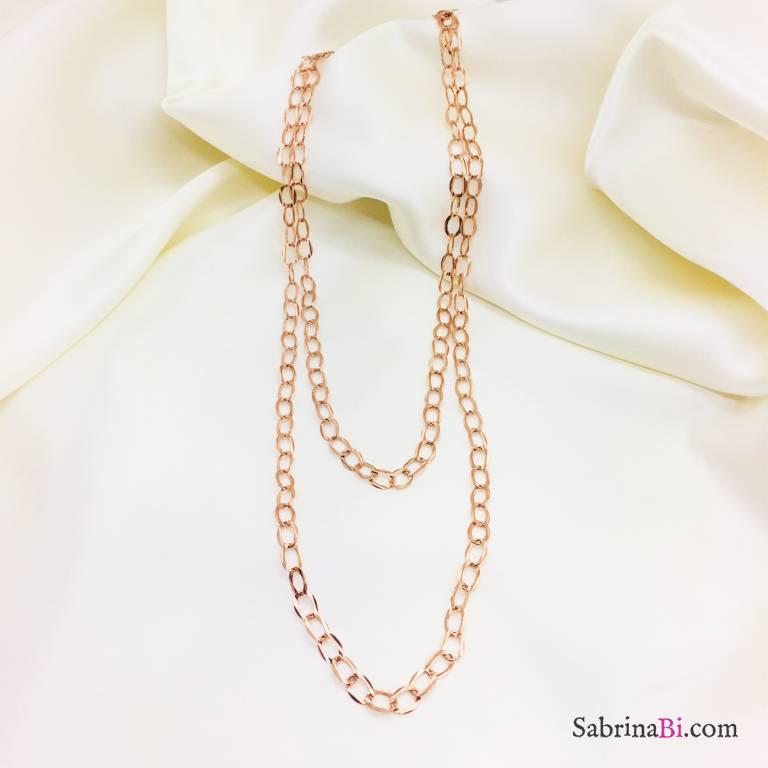 Collana lunga argento 925 oro rosa ovali piatti martellati