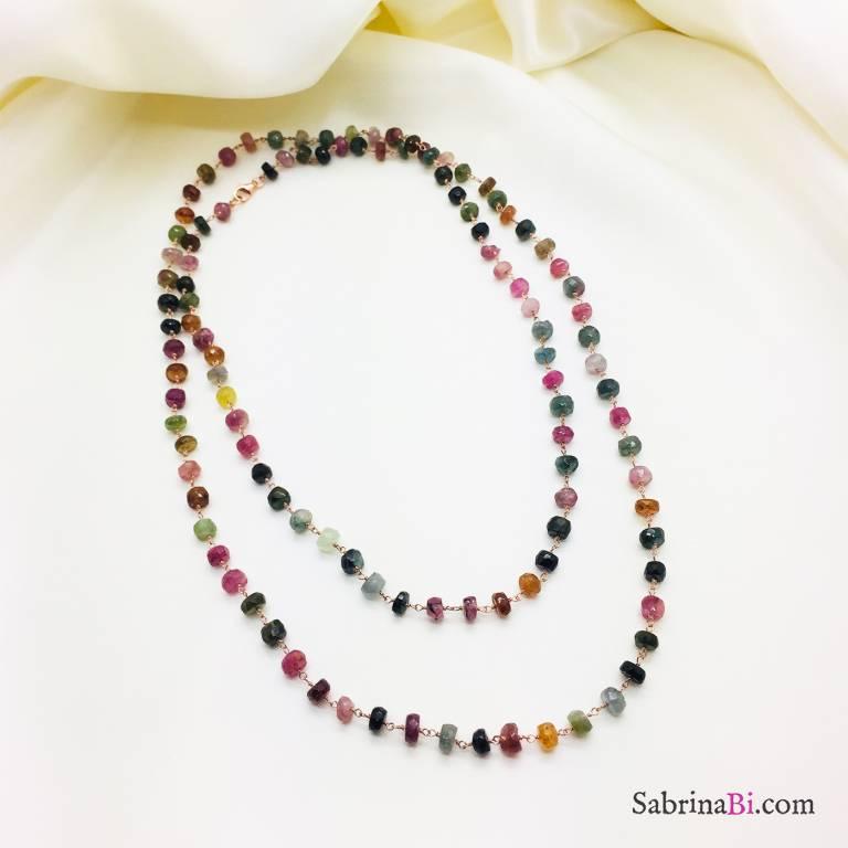 Collana lunga argento 925 oro rosa Tormaline multicolor grandi