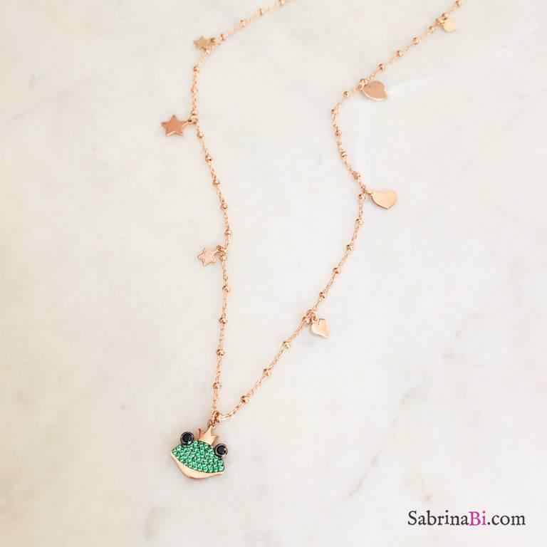 Collana lunga catena rosario argento 925 oro rosa Ranocchio, stelle e cuori