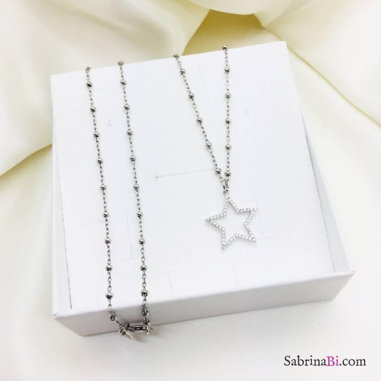 Collana lunga catena rosario argento 925 Stella grande Zirconi