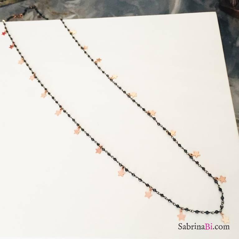 Collana lunga rosario argento 925 rodiato Pauline