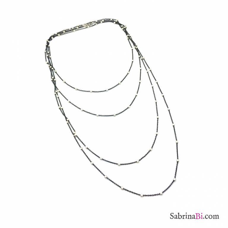 Collana lunghissima argento 925 Diamante