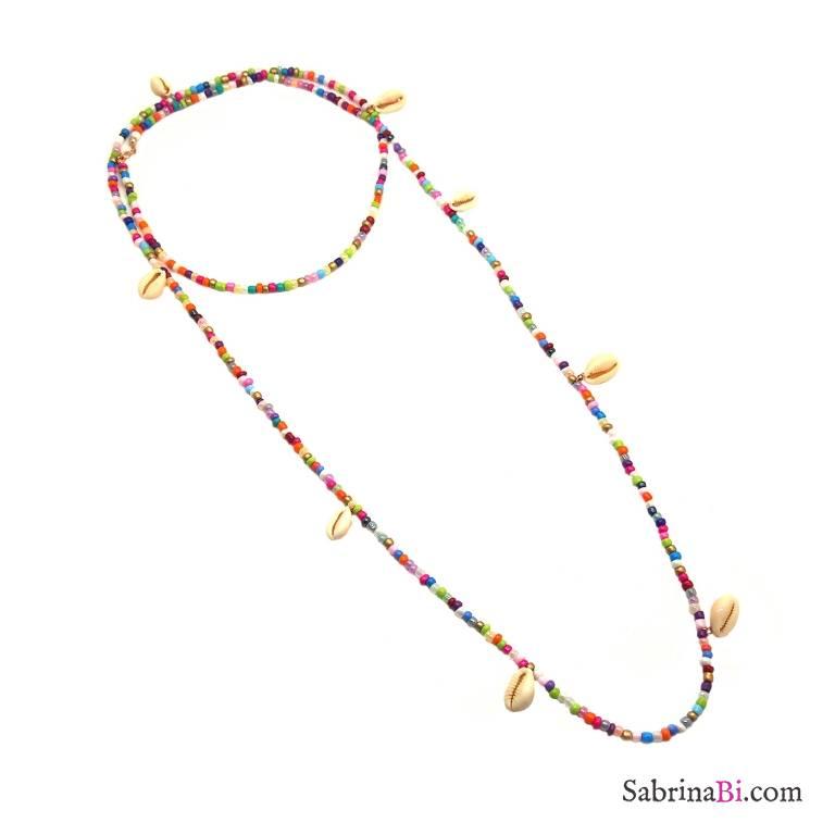 Collana lunghissima perle di vetro multicolor e conchiglie