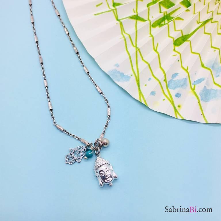 Collana media argento 925 Buddha