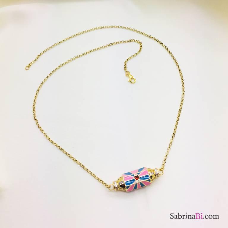Collana media argento 925 oro giallo Locket rosa azzurro smalto cuore