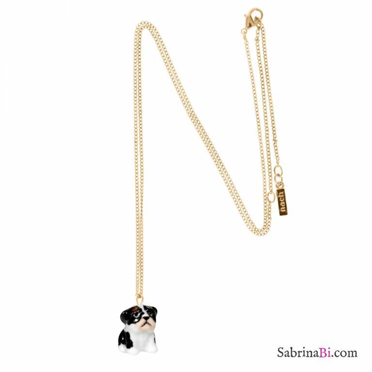 Collana oro ciondolo mini Bulldog Francese porcellana