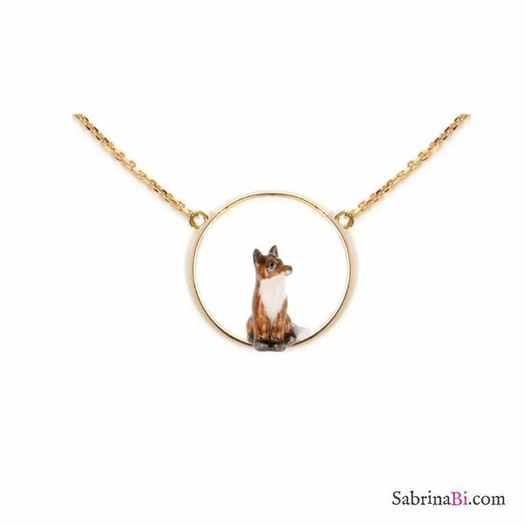 Collana oro ciondolo Volpe in porcellana nel cerchio